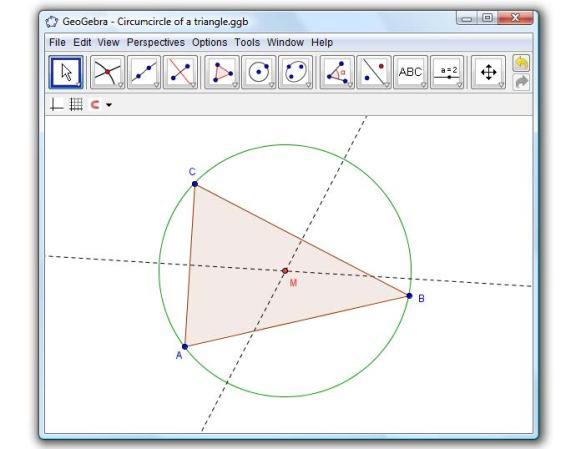 Lingkaran Luar Segitiga (GeoGebra)