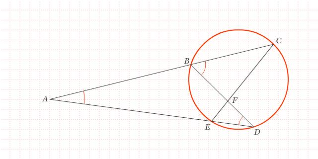 Tali Busur Berpotongan di Luar Lingkaran